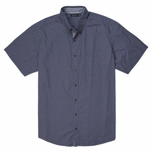Nautica Short Sleeve Poplin Plaid Shirt in Indigo