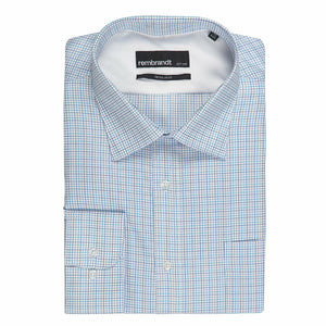 "Rembrandt Light Blue Check ""Sinatra"" Shirt"
