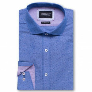 Brooksfield Luxe Dot Print Shirt Blue