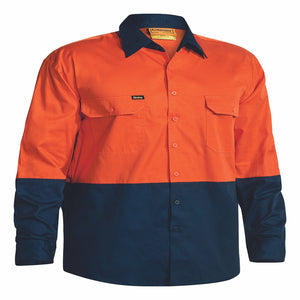 Bisley Hi-Viz Cool Lightweight Drill L/Sleeve Shirt