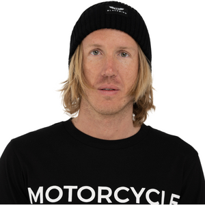 Big Mens Motorcycle Riders Wool Beanie in Black