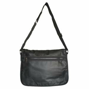 Jamieson Black Faux Leather Messenger Bag