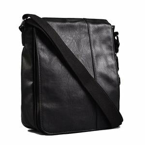 Tatum Black Faux Leather Messenger Bag