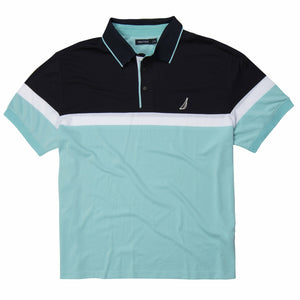 Nautica Engineered Tech Striped Polo in Harbor Marine