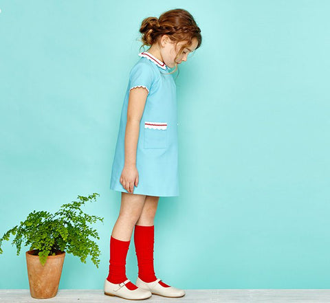 knee high red ribbed socks