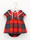 Red Tartan Girls Dress Set with Bloomers