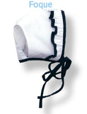 White & Navy Bonnet