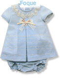 Pale Blue Lace Trim Dress Set | Foque