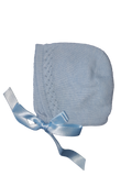 Soft Blue Detailed Silk Knitted Bonnet