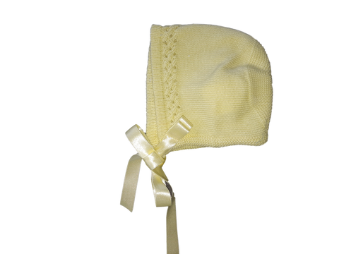 Soft Lemon Detailed Silk Knitted Bonnet