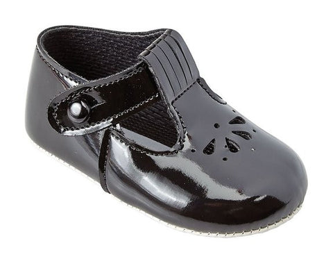 Black Patent T-bar with petal punch design baby shoe - Classical Child  - 2