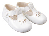 White Baypods T-bar with petal punch design baby shoe - Classical Child  - 3