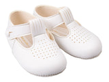 White T-bar with punchette design baby shoe - Classical Child  - 3