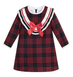 Red Check Pleated Bow Dress | Foque