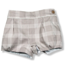 Beige Checked Shorts