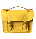 Yellow Leather Satchel 8.5""