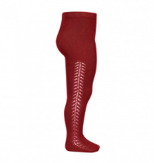 **PRE ORDER** Openwork Side Warm Tights Ruby | Condor