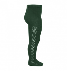 **PRE ORDER** Openwork Side Warm Tights Bottle Green | Condor