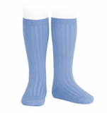 Summer Blue Ribbed Socks | Condor