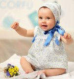 Blue Floral Dress & Bonnet Set