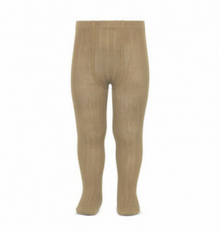 Ribbed tights in camel