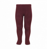 Garnet Ribbed Tights