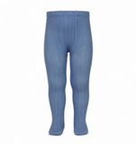 French Blue Ribbed Tights