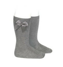 High Socks with Bow Light Grey