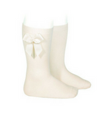 High Socks with Bow Cream