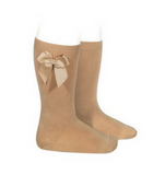 High Socks with Bow Camel