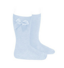 High Socks with Bow Pale Blue