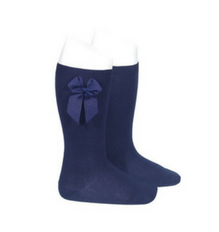 High Socks with Bow Navy