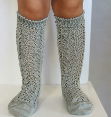 Sage Long Open Lace Socks