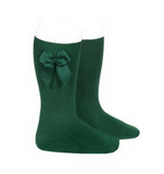 High Socks with Bow Bottle Green