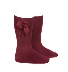 High Socks with Bow Garnet