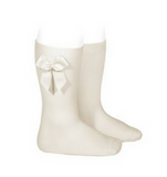 High Socks with Bow Linen