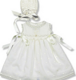 Baby Girls Ivory Cotton Dress & Bonnet Set