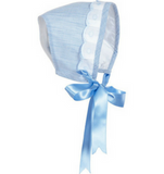 Baby Girls Blue & White Bonnet