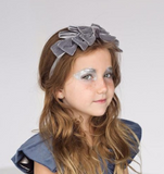 Grey Pleated Velvet Headband