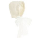 Ivory Knitted Wool Bonnet