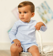 Boys Light Blue Striped Outfit | Foque