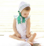 Baby Girls White & Green Dress Set