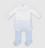 Boys White & Pale Blue Romper with tights