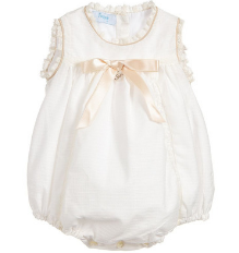 Ivory Cotton Short Babysuit
