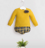 Mustard Pom Pom Spanish Knit Set