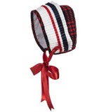 Girls Red & Blue Wool Bonnet