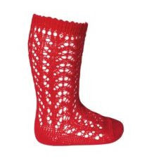 Long Open Lace Socks Red - Classical Child  - 1