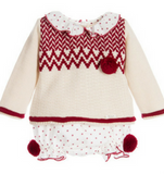 Baby Beige & Red Knitted Sweater Set - Classical Child  - 1