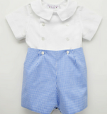 White Top & Gingham Shorts Set