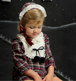 Baby Girls Red Tartan Dress with White Bib - Classical Child  - 1